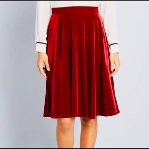 ModCloth red velvet skirt 2x